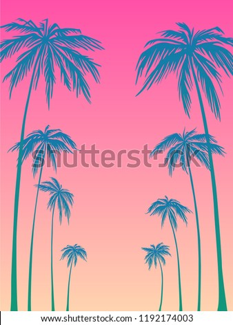 blue palm trees silhouette on a