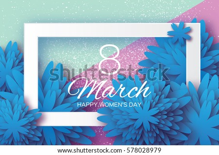 blue paper cut flower 8 march