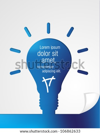 Blue paper in shape of light bulb idea