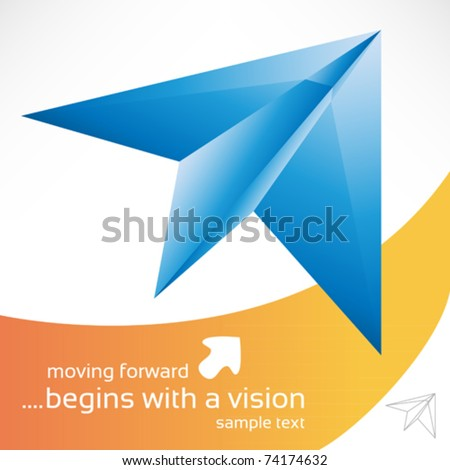 blue paper plane with background