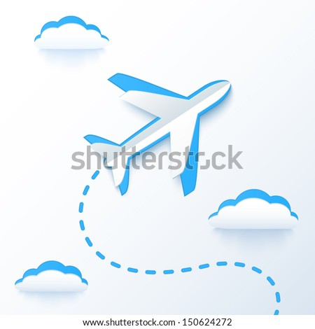 Blue paper vector flying plane in clouds - stock vector