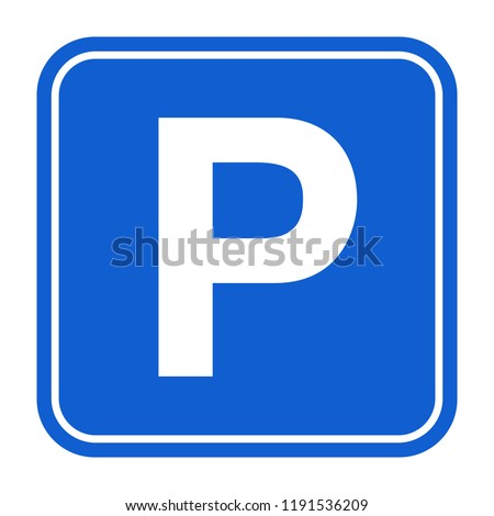 blue parking sign isolated
