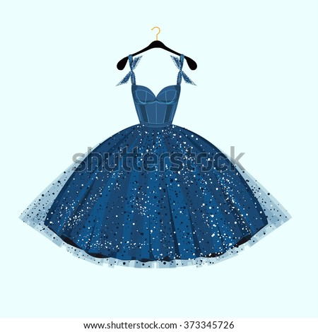blue party dress vector