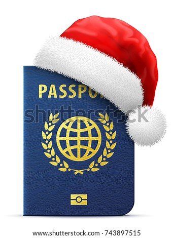 Blue passport in red Santa Claus hat. Christmas hat is put on international identification document. Best vector image for christmas, travel, new years day, vacation, winter holiday, check-in, etc