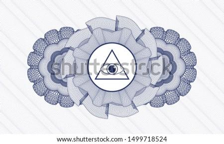 Blue passport money style rosette with illuminati pyramid icon inside