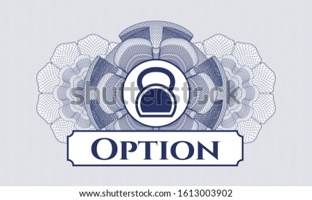 Blue passport money style rosette with kettlebell icon and Option text inside