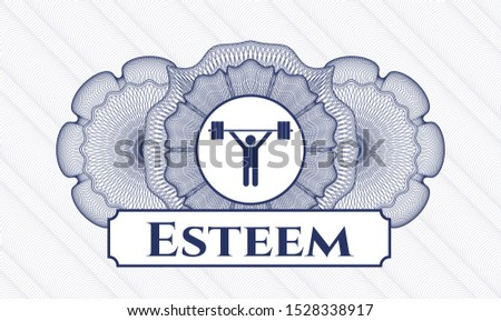 Blue passport money style rosette with weightlifting icon and Esteem text inside