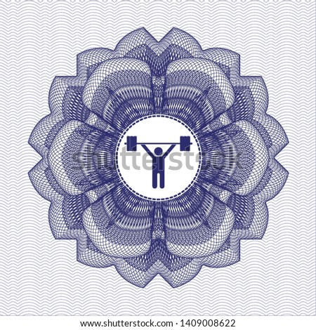 Blue passport money style rosette with weightlifting icon inside
