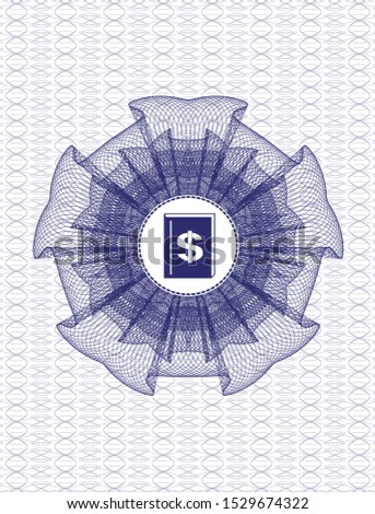 Blue passport rosette with book with money symbol inside icon inside