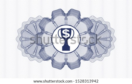 Blue passport rosette with trophy with money symbol inside icon inside