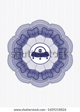 Blue passport rosette with ufo with aline inside icon inside