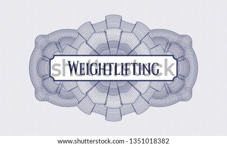 Blue passport style rosette with text Weightlifting inside