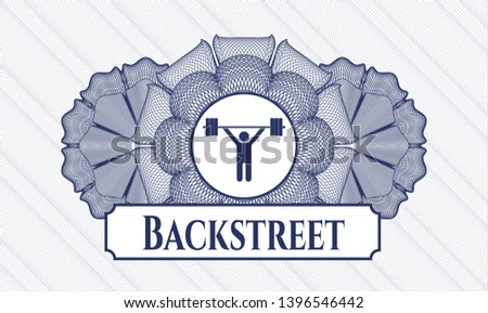 Blue passport style rosette with weightlifting icon and Backstreet text inside