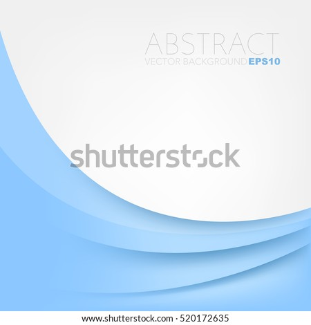Blue pastel vector background with blue overlap paper layer on white space curve line for text and message design