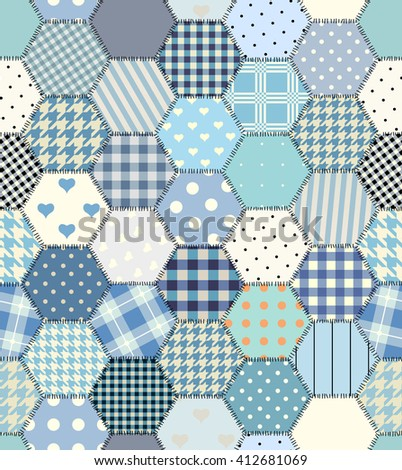 blue patchwork hexagon stitched