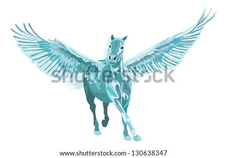 blue pegasus horse galloping