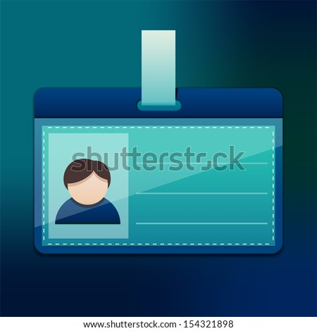 Blue personal badge for men, EPS10 file with transparent objects