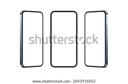 Blue Phones Mockups Isolated on White Background, Front and Side View. Vector Illustration
