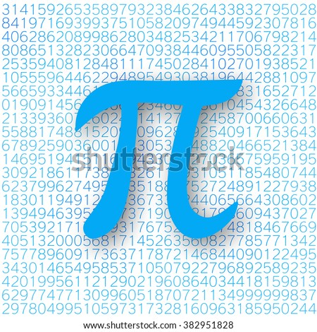Blue Pi number with a shadow on a white background for a Pi Day. Pi sign, mathematical constant, irrational number, greek letter. Abstract digital vector illustration.
