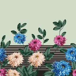 blue pink and cream vector flowers with green leaf border pattern on stripe green background