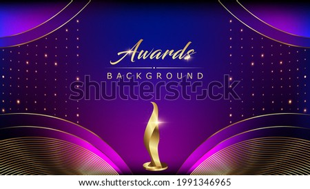 Blue Pink Golden Shimmer Awards Graphics Background Celebration. Entertainment Light Hollywood Bollywood Template Nomination Luxury Premium Corporate Abstract Design Template Banner Trophy Certificate