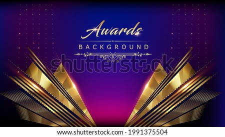 Blue Pink Golden Shimmer Awards Graphics Background Polygon Celebration Entertainment Light Stripe Template Frame Line Luxury Premium Corporate Abstract Design Template Banner Certificate