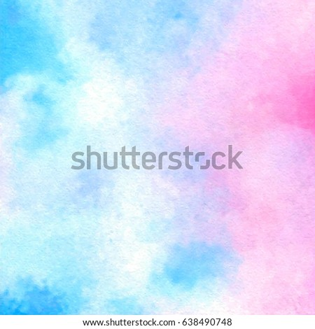 Blue pink white watercolor bright hand drawn vector paper texture background for card, text design, print. Aquarelle abstract colorful smudges brush paint element for fabric, wallpaper