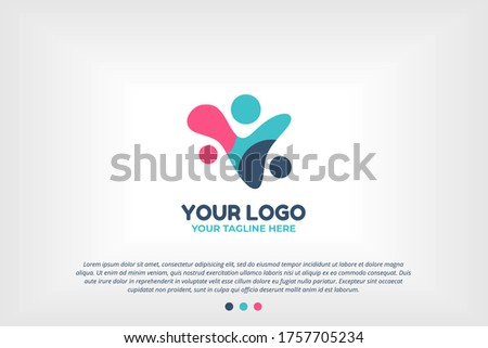Blue Pink Youth People Logo Template for Scholarships Foundation, Young Community, Youth Center, Study Activity, Teenager Collaboration, School Organization, Future Leadership Foundation,and many more