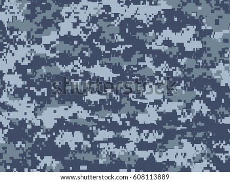 Blue pixels camouflage