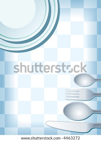 Blue place setting with plate, fork, spoon and knife, vector. - stock vector