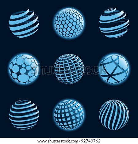 Blue planet icons. Vector illustration.