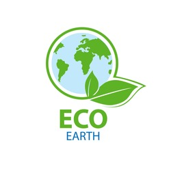 Blue planet in circle a green leaf. Symbol of ecology with the text eco earth. Natural, organic logotype design template. Vector illustration of symbol of ecology.