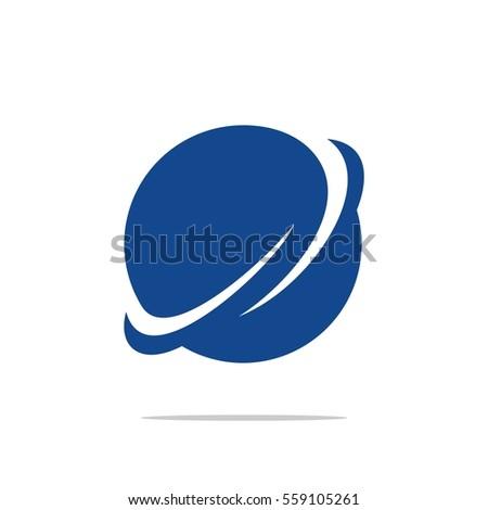 blue planet orbit logo template