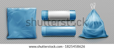 Blue plastic bag for trash, garbage and rubbish. Vector realistic mockup of polyethylene trashbag in roll, empty and full of waste. Sack with refuse with tied string isolated on transparent background Photo stock ©