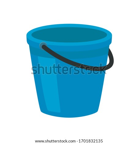 Blue plastic bucket with a black handle. Isolated white background. A bucketful for washing food, water and drink. Household chores pail. ストックフォト ©