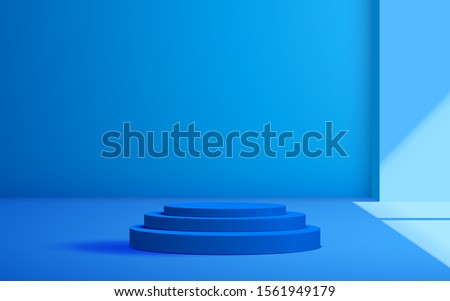 blue podium with sunlight in