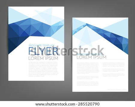 blue polygonal line brochure
