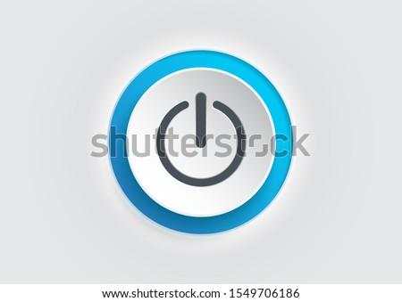 Blue power button icon on white background. illustrator vector. Stock photo ©