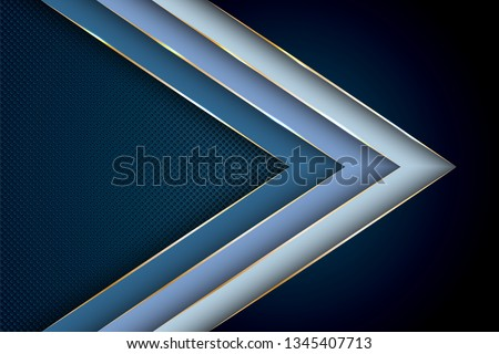 Blue premium background with luxury polygonal arrow pattern and gold triangle edge lines. Gradient facets shapes luxury gold lines vector. Rich background, premium triangle polygons royal blue design.