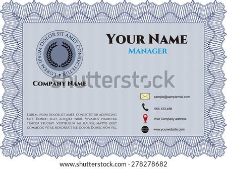 Blue presentation card, retro style