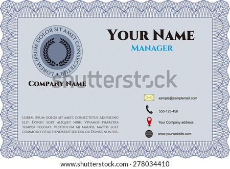 Blue presentation card template