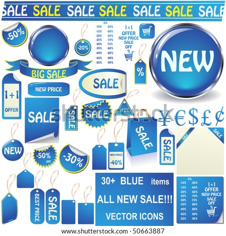 Blue price tags, stickers, pealing papers, buttons and banners vector set isolated on white