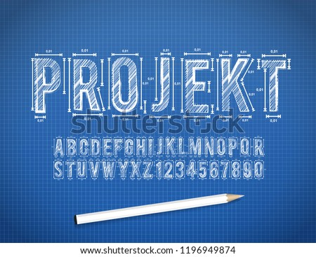 Blue Print sketch font in vector format