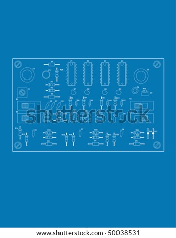 blue print style illustration of a printed circuit board