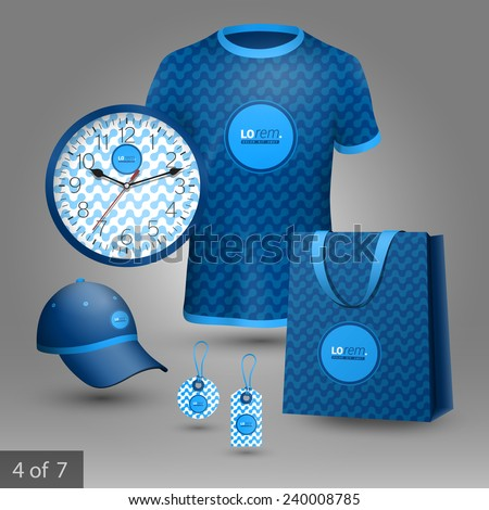 Blue promotional souvenirs design for company with geometric pattern. Elements of stationery. ストックフォト ©