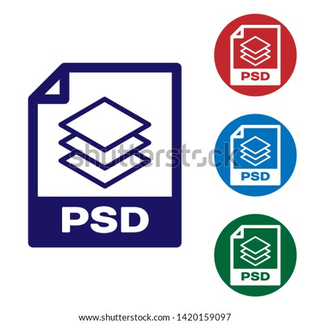 Blue PSD file document icon. Download psd button icon isolated on white background. PSD file symbol. Set color icon in circle buttons. Vector Illustration