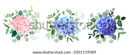 Blue, purple, blush pink hydrangea flowers, emerald greenery and eucalyptus wedding vector bouquets set. Floral pastel watercolor. Blooming garden hortensia. Elements are isolated and editable