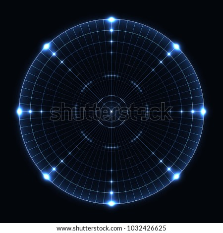 blue radar range on black