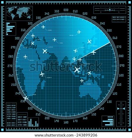 blue radar screen with planes