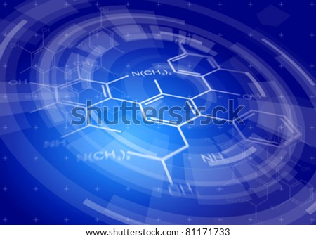 blue radial technology background & chemical formulas